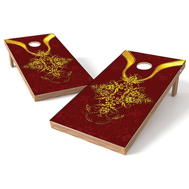Red Floral Cornhole Board Wrap Baggo Bag Toss Corn Toss Wrap