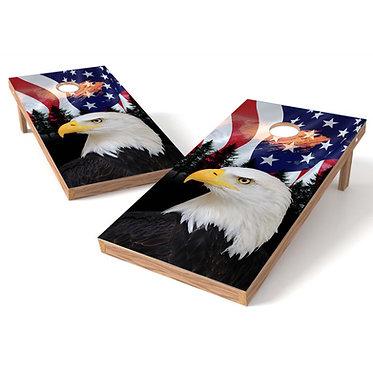 US Flag Bald Eagle Cornhole Decal Wrap