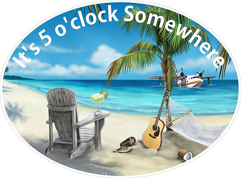 It's 5:00 Somewhere Tropical Decal Sticker