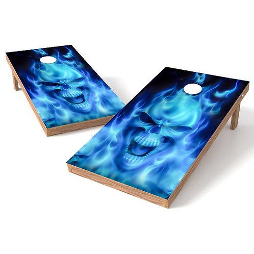 Flames Skull Blue Cornhole Board Wrap