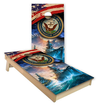 American Flag Navy Ship Cornhole Wrap Cornhole Decal