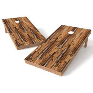 Abstract Mahogany Wood Cornhole Wrap