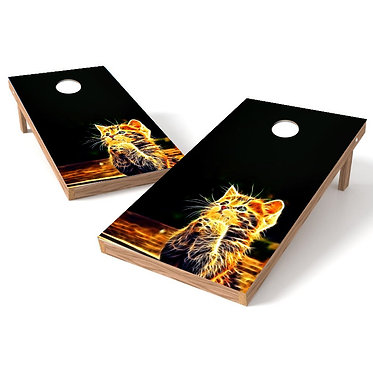 Yellow Kitten Cornhole Board Wrap Bags Baggo Corn Toss Wrap