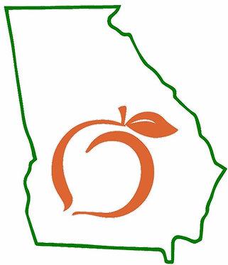 Georgia State Outline Georgia Peach Decal Sticker