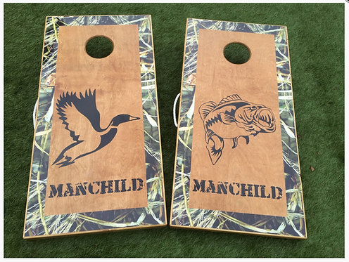 Duck Bass SHADOWGRASS CORNHOLE BOARDS - Corn Bags -Free Shipping