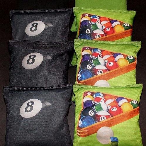 Pool table balls with 8 Ball Cornhole bags, set of (8)