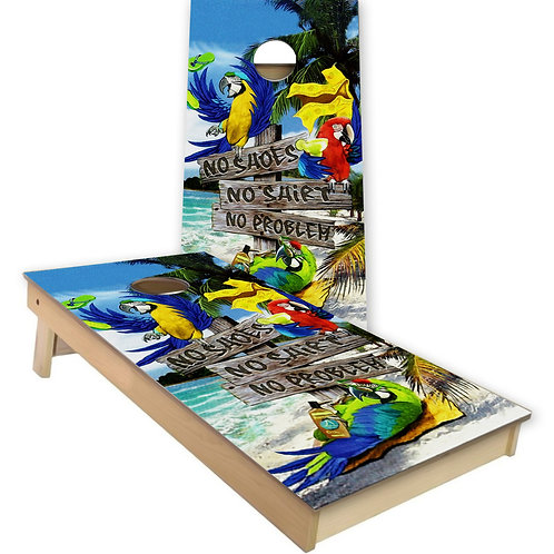 No Shoes Parrot Margaritaville Cornhole Board Set