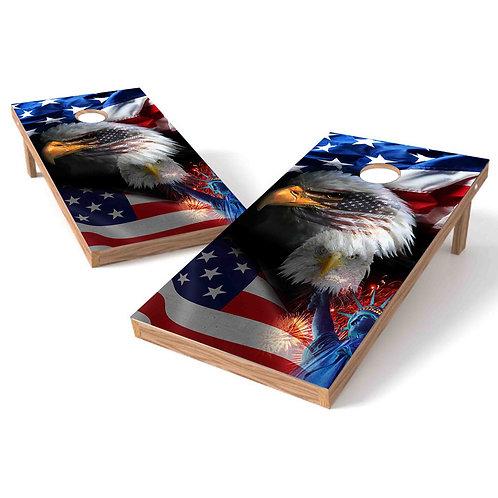 Eagle Flag Freedom Cornhole Board Wrap
