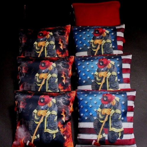 USA FALLING FIREFIGHTER RESCUE PRAYING Cornhole bags, set of (8)