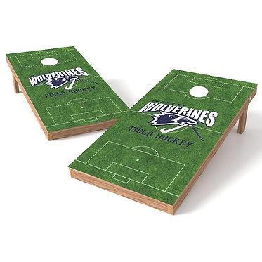 Soccer Field with Logo Cornhole Board Wrap