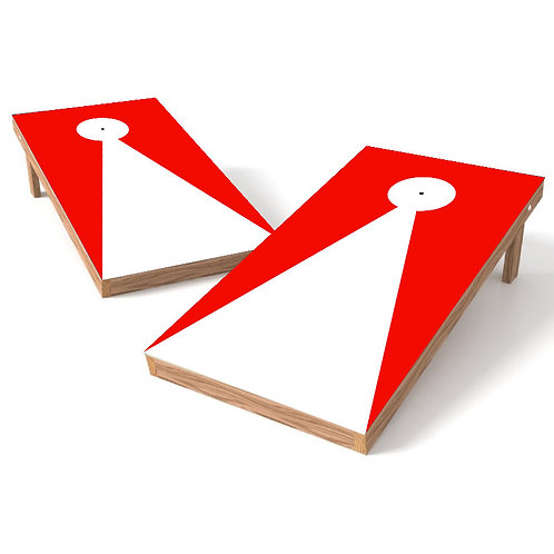 Red Triangle with Hole Outline Cornhole Board Wrap - Add Logo