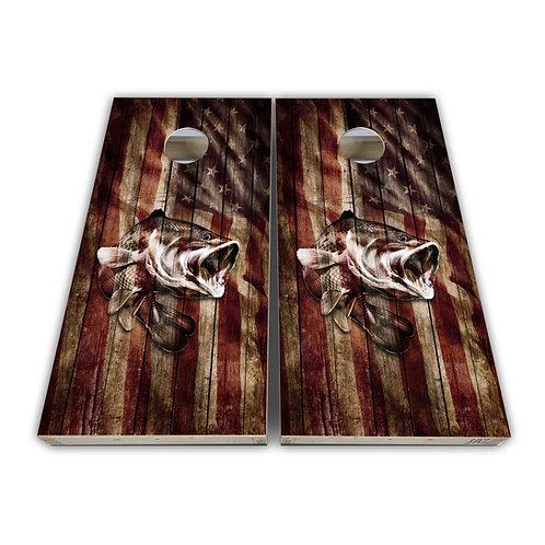 Fishing Flag Bass Cornhole Board Set Baggo Set