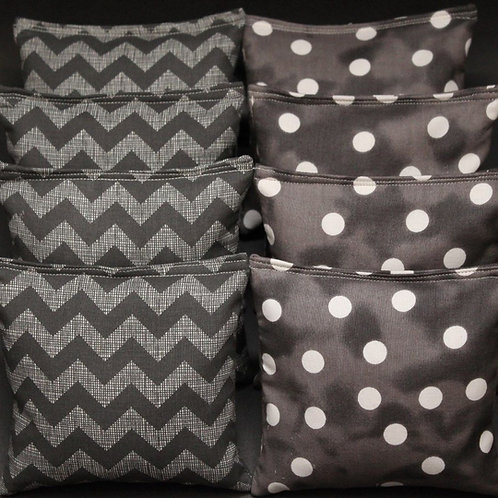 Smoky gray chevron and polka dot bag toss wedding bags, set of (8)