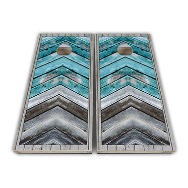 Teal Distress Wood Plank Cornhole Board Wrap - Cornhole Board Skin