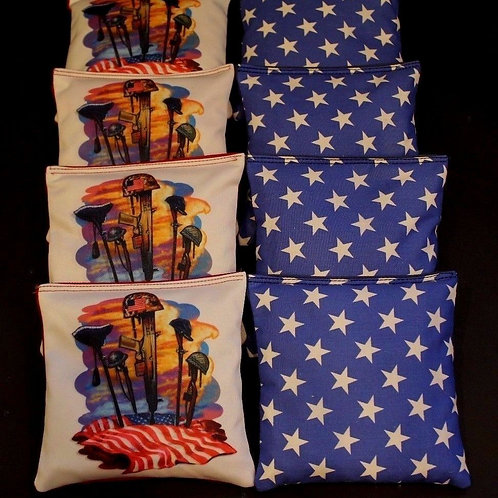 Honor American heroes memorial and stars Cornhole bags, set of (8)