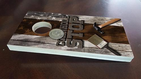 "1 Coin Toss Mini Cornhole Board, Pick Wrap - 3.5""x7""x 1.25""hole"