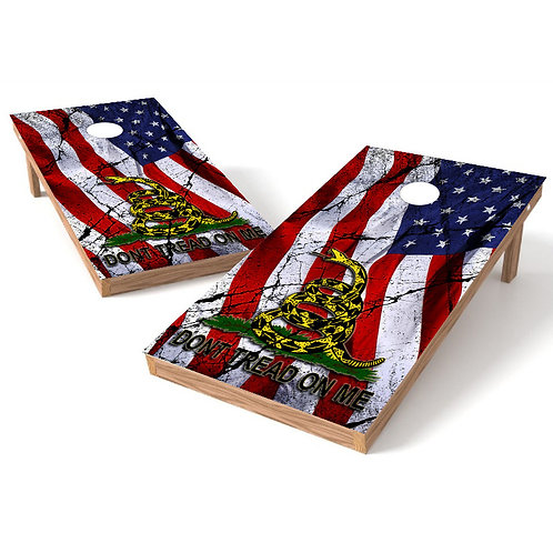 Dont Tread On Me Worn Flag Cornhole Board Wrap