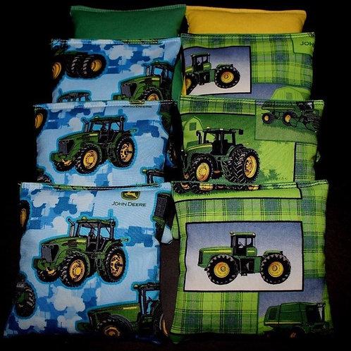 Camo farm Tractor made with John deere fabric Cornhole bags, set of (8)