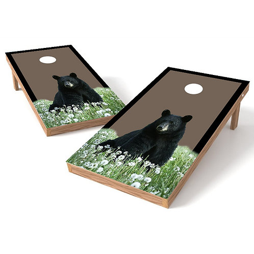 Black Bear in Field Cornhole Board Wrap