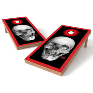 Skull with Red Rose Cornhole Decal Wrap