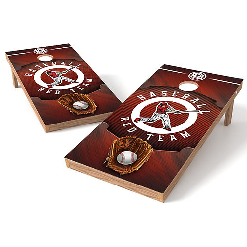 Team Red Baseball Cornhole Board Wrap