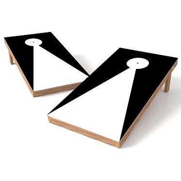 Black Triangle with Hole Outline Cornhole Board Wrap - Add Logo