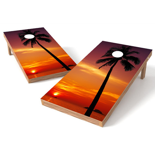 tropical sunset cornhole board wrap - Cornhole Board Wraps