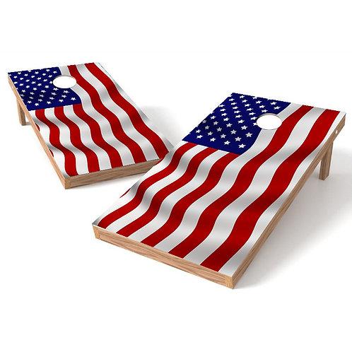 Waving American Flag Stars on Left Cornhole Wrap