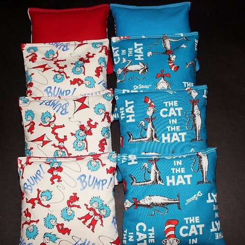 CAT IN HAT DR SUESS made with Dr suess Cornhole bags, set of (8)