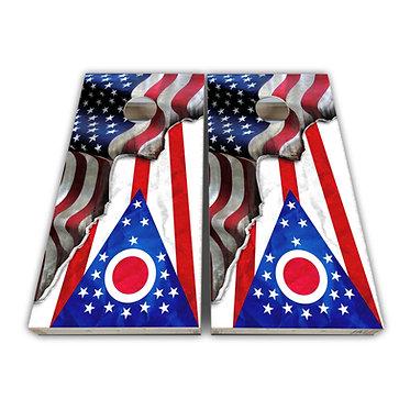 Ohio Cornhole Ohio State Flag American Flag Cornhole Board Wrap Decal