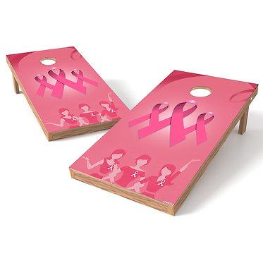 Breast Cancer 1 Ribbon Ladies Cornhole Wrap