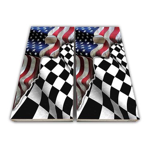 United States Flag Nascar Flag Cornhole Board Game Set