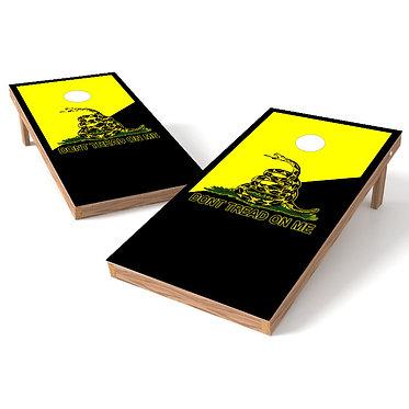 Dont Tread On Me Black Yellow Cornhole Board Wrap