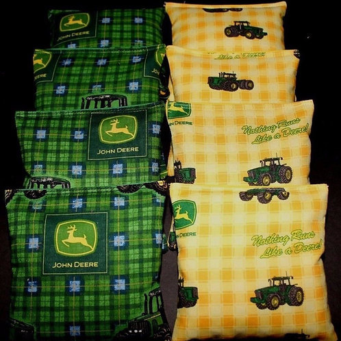 Green tractor Country with John deere fabric Cornhole bags, set of (8)