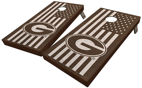 CUSTOM UNIVERSITY OF GEORGIA STAINED AMERICAN FLAG CORNHOLE BOARD SET