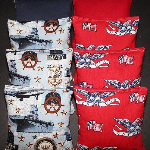 Navy Seals and Patriotic Cornhole bags, set of (8)