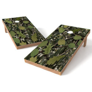 Black Bark Green Leaf Camo Cornhole Decal
