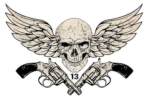 Skull Wings with Guns Cornhole Decal Sticker
