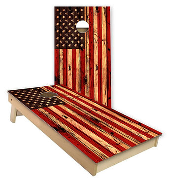 American Flag Hanging Flag for Service Cornhole Wrap Decal