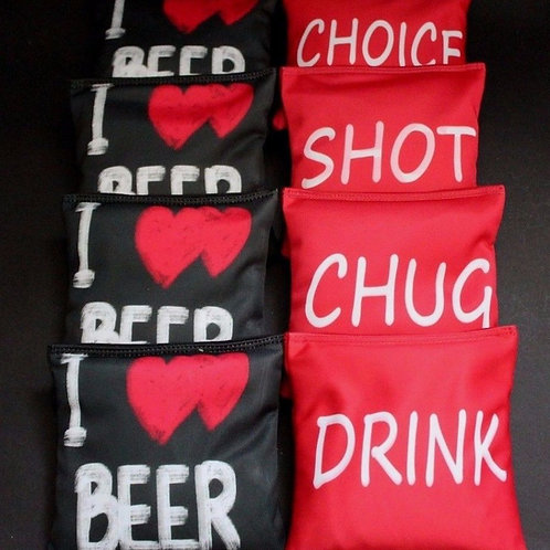 I LOVE BEER DRINK SHOT CHUG CHOICE Cornhole bags, set of (8)