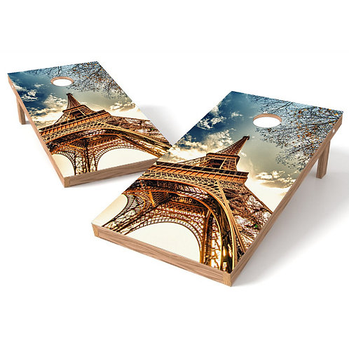 Eiffel Tower Cornhole Board Wrap