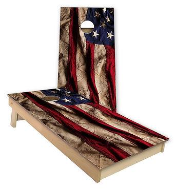 Tattered American Flag Cornhole Wrap