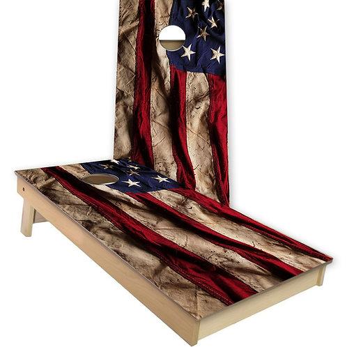 Tattered American Flag Cornhole Board Set