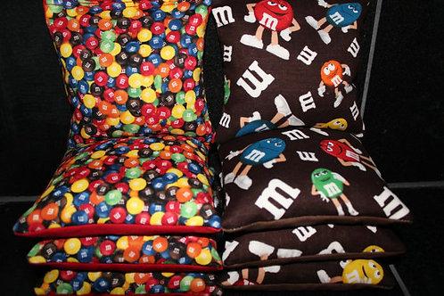 M and M Candy Cornhole bags, set of (8)
