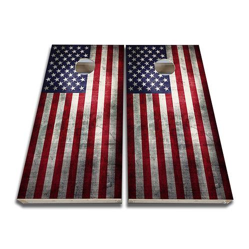 Grunge American Flag Cornhole Board Game Set Bags Game Set
