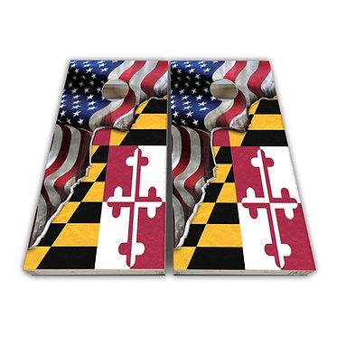 Maryland Cornhole Maryland Flag American Flag Cornhole Board Wrap De
