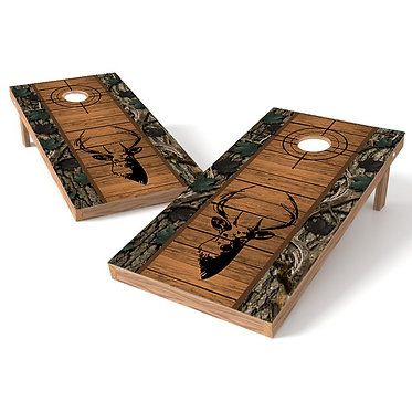 Deer Silhouette Cross Hairs Cornhole Wrap