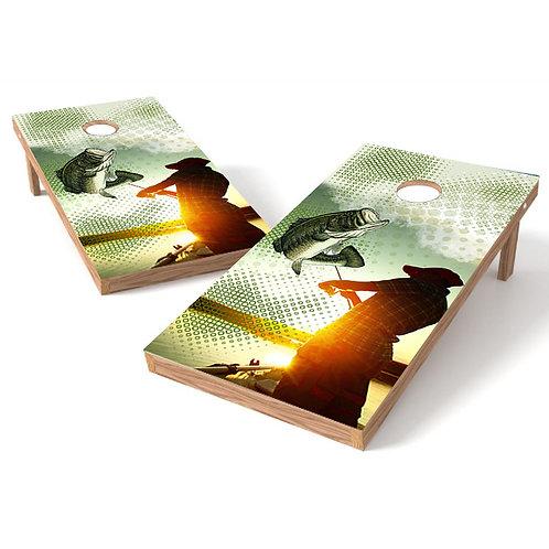 Bass Fishing Cornhole Board Wrap - Design 3