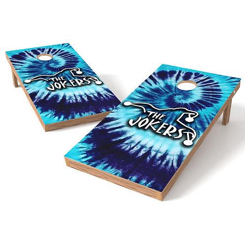 The Joker Blue Tie Die Cornhole Board Wrap