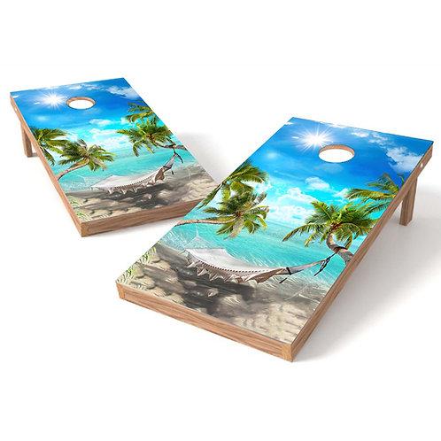 Palm Trees Hammock on Beach Cornhole Board Set